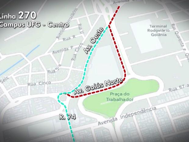 Alteração no trânsito em Goiânia, Goiás (Foto: Reprodução/TV Anhanguera)