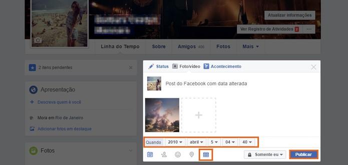 Adicione a data específica no post do Facebook (Foto: Reprodução/Barbara Mannara)
