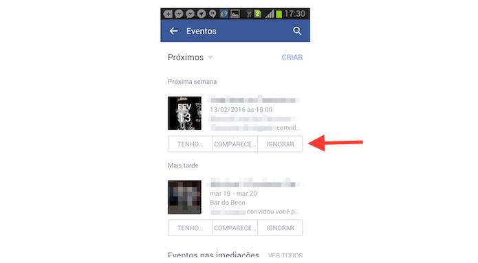 Interagindo com os eventos do Facebook pelo Android (Foto: Reprodução/Marvin Costa)
