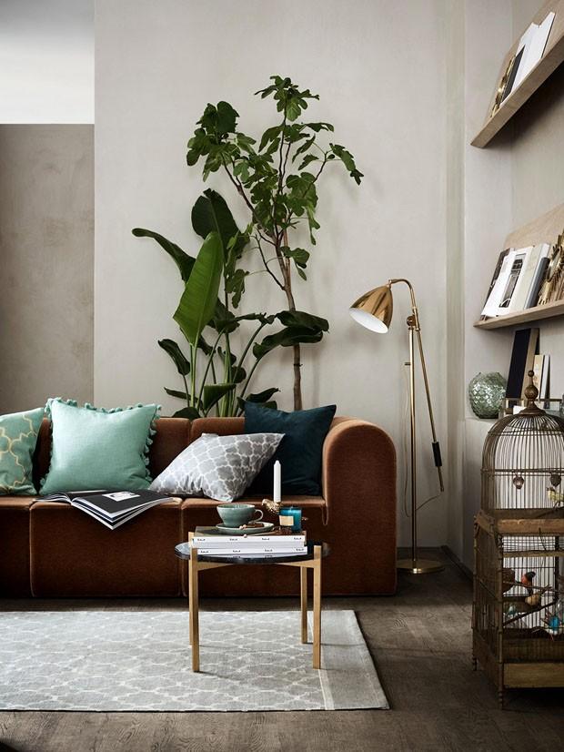 Décor do dia: sala de estar mistura tons terrosos e esverdeados (Foto: Divulgação)