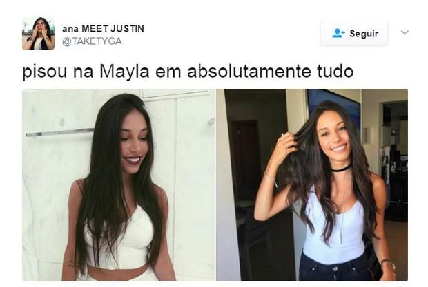 Mayla, do BBB, vira meme após encontro com 'papelão' de Justin (Foto: reprodução / twiter)