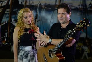Joelma e Chimbinha em Coletiva de Imprensa da banda Calypso  (Foto: Francisco Cepeda/AgNews)