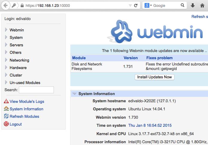Instale e o Webmin no Ubuntu e administre ele a distância (Foto: Reprodução/Edivaldo Brito)