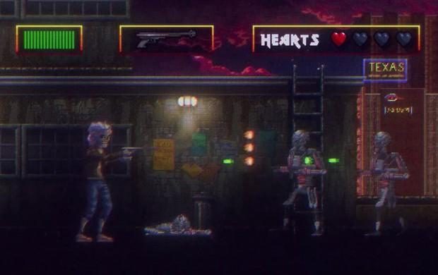 Depois, o clipe muda para um jogo de tiro em 2D, no melhor estilo do obscuro 'RoboCop versus The Terminator', do início da década de 1990 (Foto: Reprodução/YouTube/Iron Maiden)
