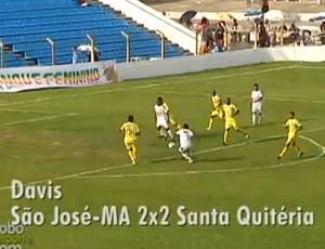 Gol do volante do São José (MA), Davis, foi eleito o o mais bonito da terceira rodada do Campeonato Maranhense (Foto: Reprodução/TV Mirante)