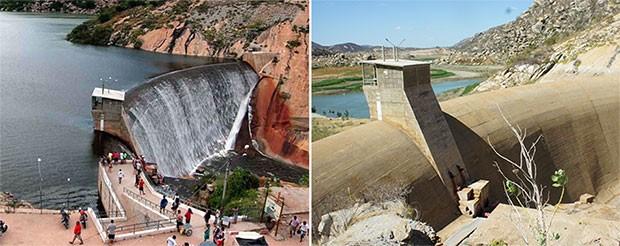 À direita, o Gargalheiras em 2011, quando ainda ocorria a sangria, a cascata artificial; à esquerda, nos dias atuais, sob a seca (Foto: Canindé Soares e Anderson Barbosa/G1)