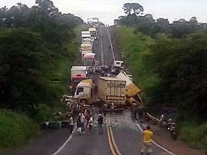 Congestionamento chegou a 30 KMs (Foto: PRF/Arquivo pessoal)
