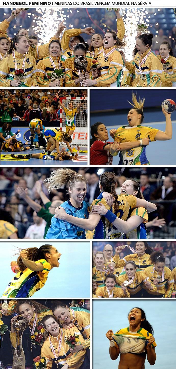 mosaico Brasil handebol campeão taça 1 (Foto: Editoria de Arte)