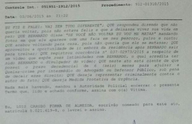 Ex-namorada acusa Bernardo de ter divulgado vídeo íntimo dos dois (Foto: Reprodução)