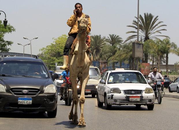 Um egípcio foi flagrado falando ao celular enquanto andava de camelo nesta quarta-feira (20) por uma rua movimentada na região central da capital Cairo, no Egito.  (Foto: Mohamed Abd El Ghany/Reuters)