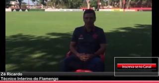Zé Ricardo no bate-papo com a comunicação do Flamengo (Foto: Reprodução)