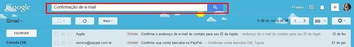 Digite na busca Confirmação de e-mail com e sem aspas (Reprodução/Taysa Coelho)