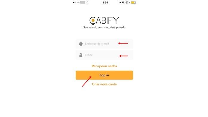 Fazer login no Cabify