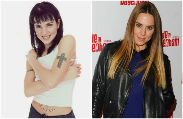 A foto à esquerda é de Melanie Chisholm, a Mel C das Spice Girls, em 1997, quando tinha 23 anos. Atualmente ela tem 41. (Foto: Getty Images)