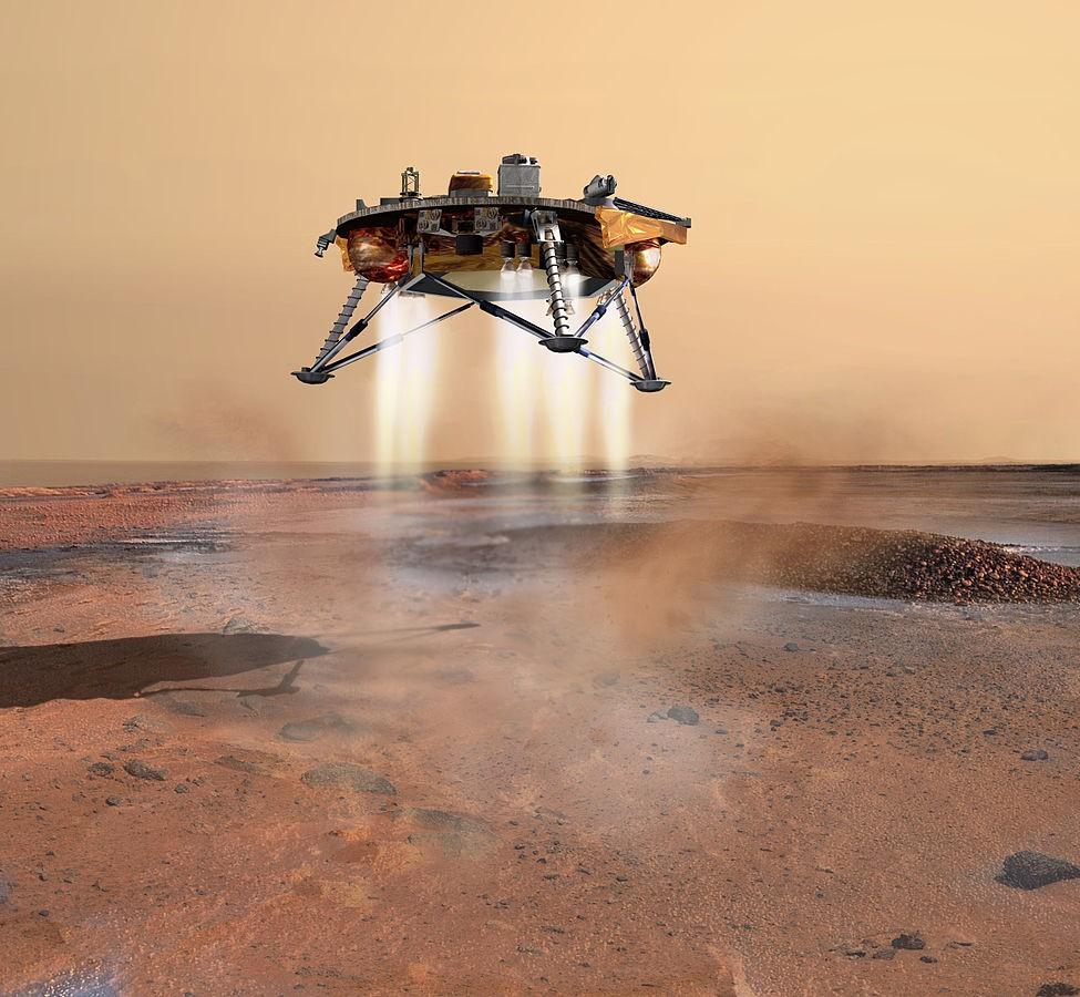 Ilustração da sonda Phoenix chegando em Marte (Foto: NASA)
