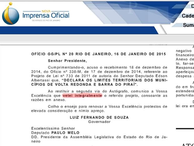 Diário Oficial do Rio de Janeiro mostra veto ao projeto de lei que prevê anexação do distrito da Califórnia a Volta Redonda (Foto: Reprodução/Diário Oficial RJ)