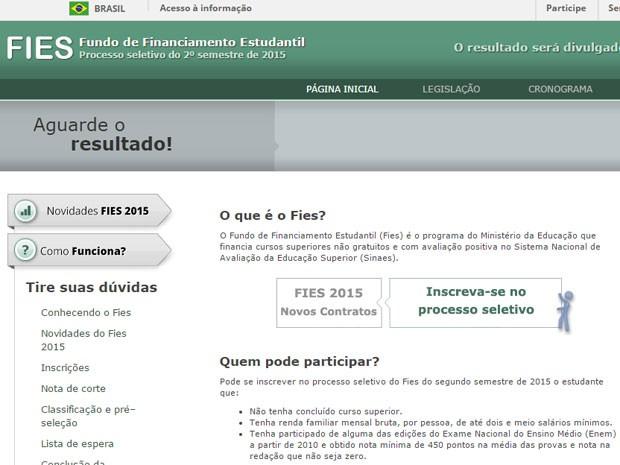 Página do Fies pede que candidatos aguardem o resultado. (Foto: Reprodução/Divulgação)