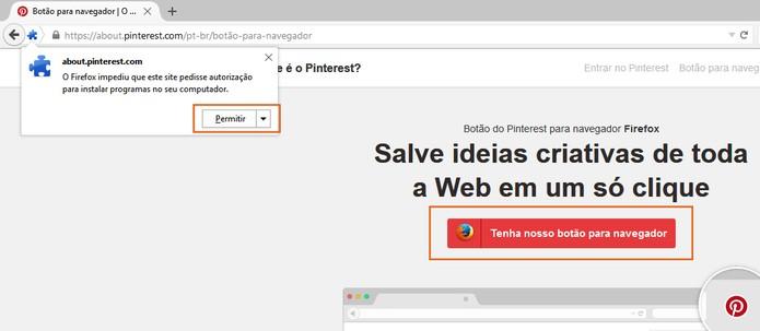 Permita a adição da extensão do Pinterest no Firefox  (Foto: Reprodução/Barbara Mannara)