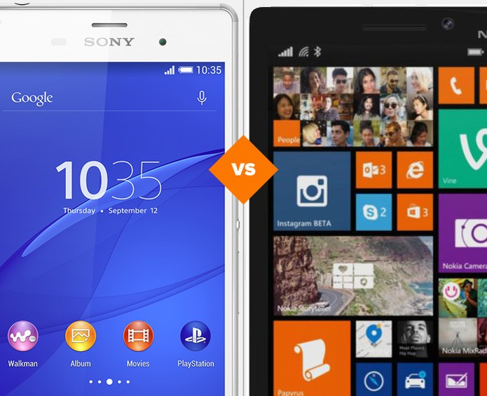 Comparativo Xperia Z3 vs. Lumia 930 (Foto: Arte/TechTudo)