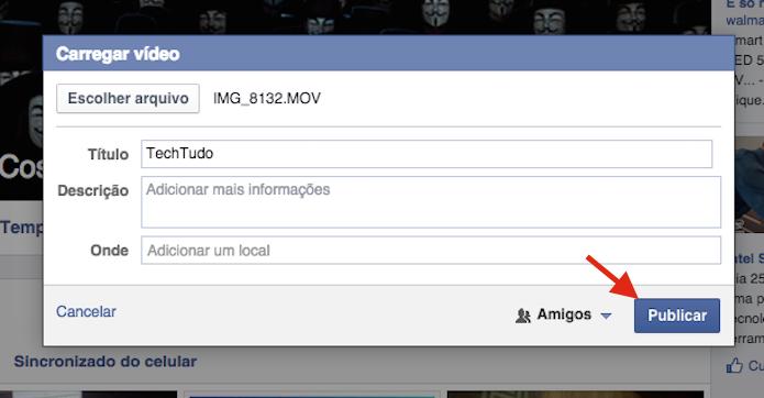 Publicando um vídeo no Facebook para criar um álbum (Foto: Reprodução/Marvin Costa)