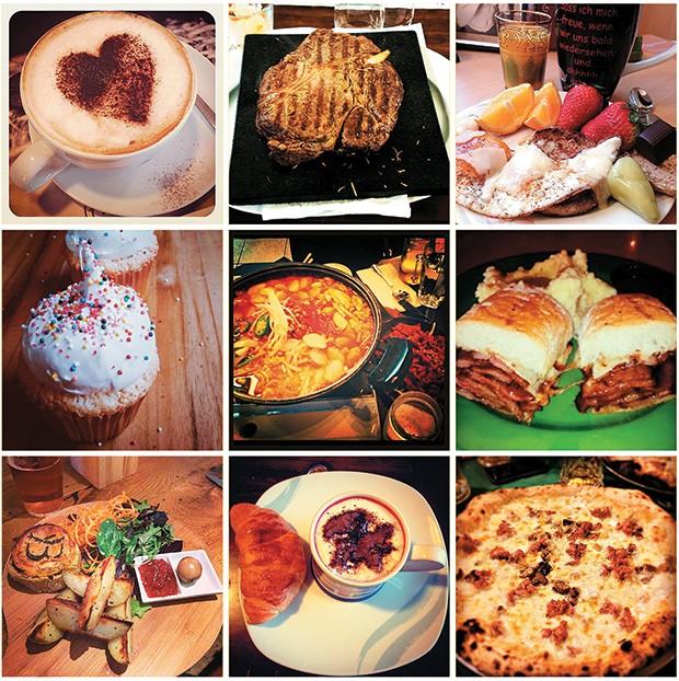 QUEM CURTE Algumas das imagens de comida publicadas recentemente por usuários do aplicativo Instagram. O assunto é um dos mais populares na rede social, com mais de 80 milhões de fotos compartilhadas (Foto: Reprodução)
