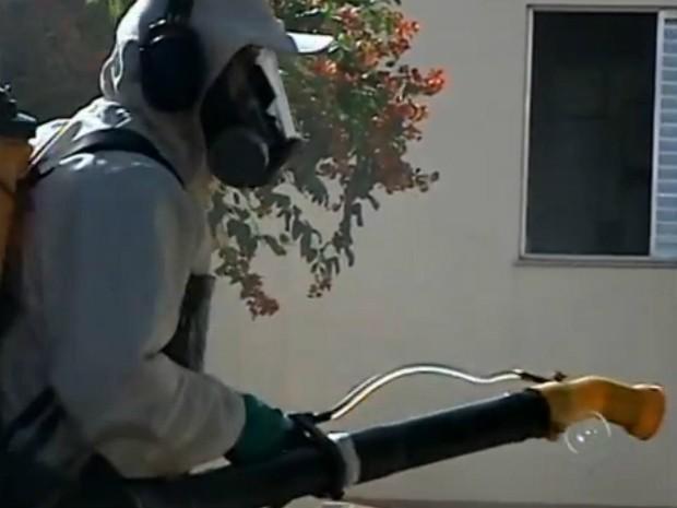 Agentes da Vigilância aplicam inseticida para eliminar mosquitos adultos (Foto: Reprodução / TV TEM)