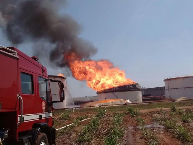 Bombeiros trabalham para apagar as chamas (Foto: Divulgação/Corpo de Bombeiros)
