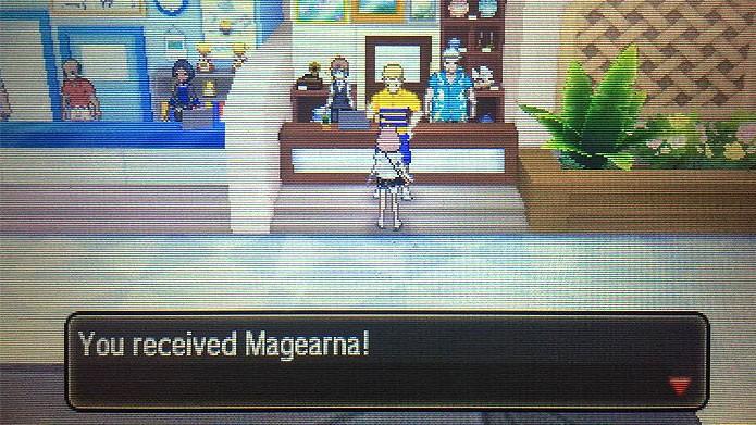 Fale com o entregador na loja Antiquities of the Ages para receber Magearna (Foto: Reprodução/Tais Carvalho)