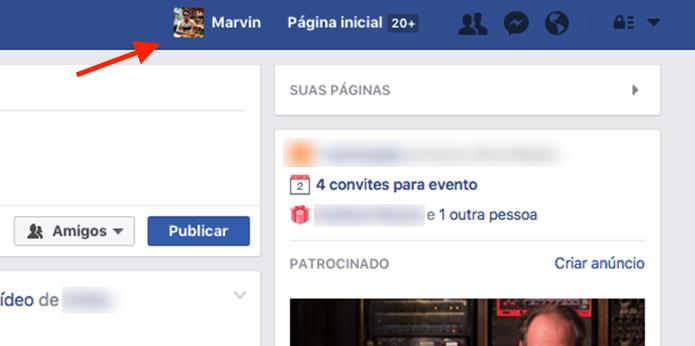 Ação para acessar o perfil de usuário do Facebook (Foto: Reprodução/Marvin Costa)