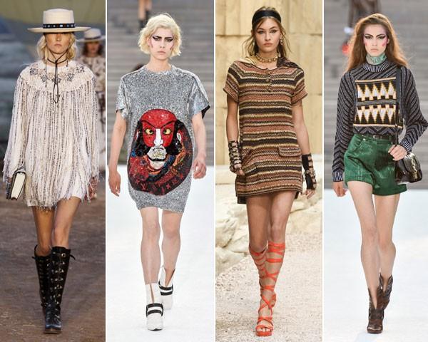 Pernas surgem à mostra nas coleções da Dior, Louis Vuitton, Chanel e, novamente, Louis Vuitton (Foto: divulgação)