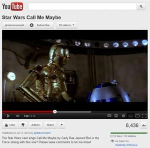Fã utilizou falas dos filmes de 'Guerra nas estrelas' para recriar o hit 'Call me maybe', de Carly Rae Jepsen (Foto: Reprodução/YouTube)