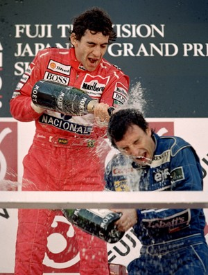 Ayrton Senna pódio Suzuka 1991 arquivo (Foto: Getty Images)