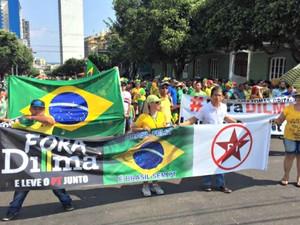 Manifestante durante caminhada em Manaus (Foto: Diego Toledano/G1 AM)