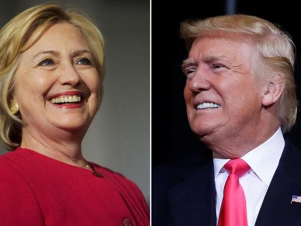 Hillary Clinton em Filadélfia, no dia 16 de agosto, e Donald Trump em Tampa, no dia 24 de agosto (Foto: Reuters/Mark Makela/Carlo Allegri)