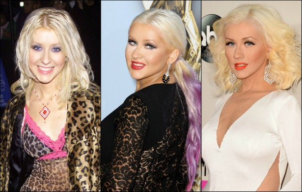 Christina Aguilera é uma mulher de fases. Às vezes está com tudo em cima, às vezes nem tanto. E não estamos falando simplesmente de ganho e perda de peso, mas de carisma, figurino adequado. Compare a figura da popstar em três momentos: setembro de 1998, com 17 aninhos (à esq.); setembro de 2012, com 31 (centro); e atualmente, com 33. (Foto: Getty Images)