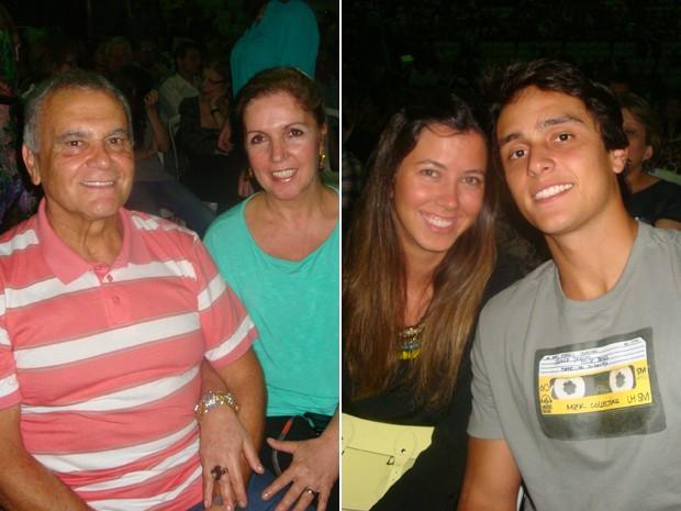 , casados há 30 anos, e , namorados há seis meses, em show de Roberto Carlos (Foto: G1)