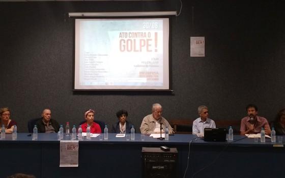 """""""Ato contra o golpe"""", evento com professores contrários ao impeachment, na USP (Foto: Ruan de Sousa Gabriel)"""