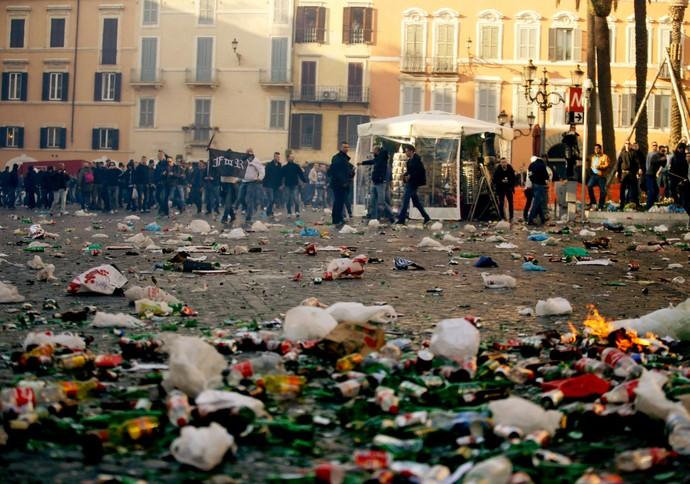 Torcida Feyenoord Roma (Foto: AP)