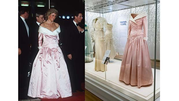 A pink satin evening gown with white raw silk collar and cuffs by Catherine Walker. When the Princess posed for an official 1987 official portrait by Terence Donovan, she needed a dress that would hold its own next to The Prince of Wales's ceremonial uniform (see below). Catherine Walker devised this stately and formal gown for Diana, with classic tailoring in an overtly feminine style. She also wore it to the official visit to Germany in 1987 (Foto: GETTY; HISTORIC ROYAL PALACES)