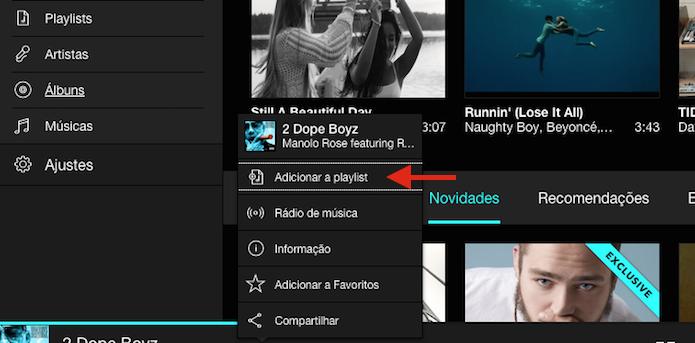 Acessando a ferramenta que adiciona uma música em uma playlist do Tidal (Foto: Reprodução/Marvin Costa)