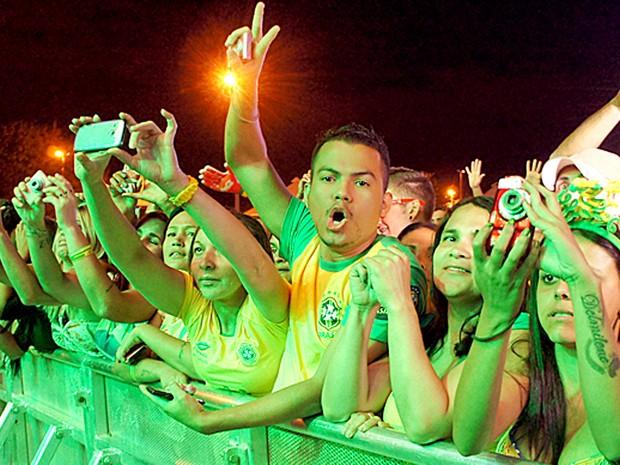 Público durante show no Fifa Fan Fest do DF, no Taguaparque (Foto: Ricardo Moreira/G1)