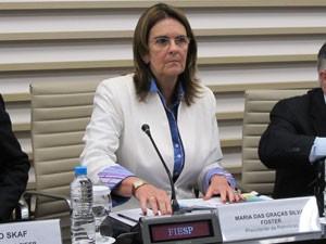 A presidente da Petrobras, Graça Foster, falou à imprensa nesta quarta-feira (10) (Foto: Gabriela Gasparin/G1)