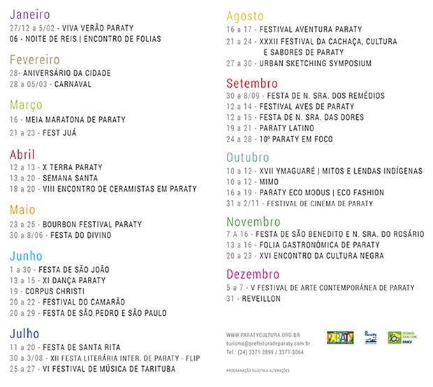 Calendário Oficial de Eventos de 2014 de Paraty (Foto: Divulgação