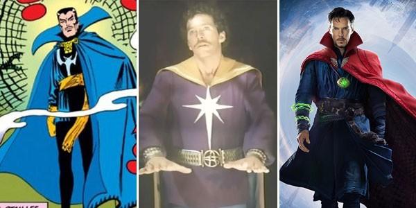 Doutor Estranho nos quadrinhos (1963), na televisão (1978) e no cinema (2016) (Foto: Divulgação)