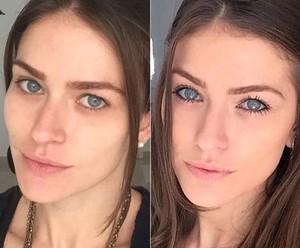 Renata Longaray sem maquiagem, à esquerda, e maquiada, à direita: ela sempre limpa o rosto ao (Foto: Arquivo Pessoal)