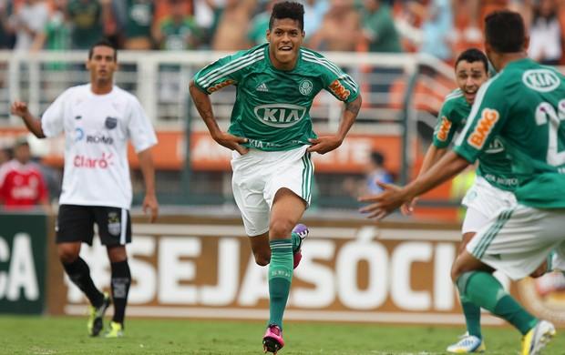 Leandro comemora gol do Palmeiras sobre o União Barbarense (Foto: Wagner Carmo/Agência Estado)