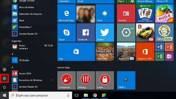 Destaque para ícone de configurações do Windows 10 (Foto: Reprodução/Raquel Freire)