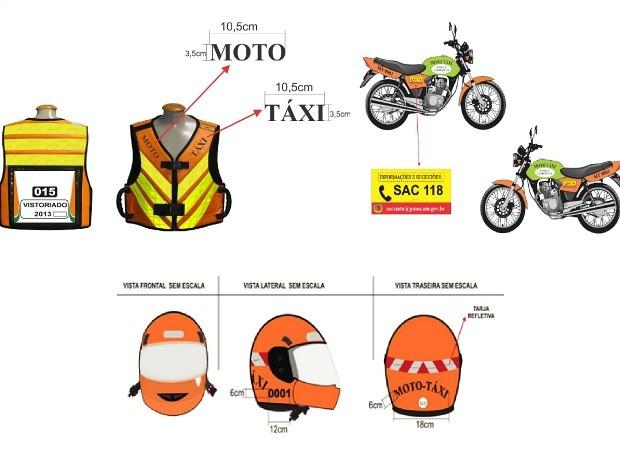 Motos e uniformes deverão seguir modelo padrão (Foto: Divulgação/Semcom)