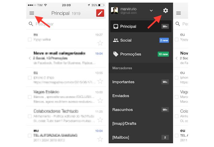 Acessando as configurações do Gmail para iPhone (Foto: Reprodução/Marvin Costa)