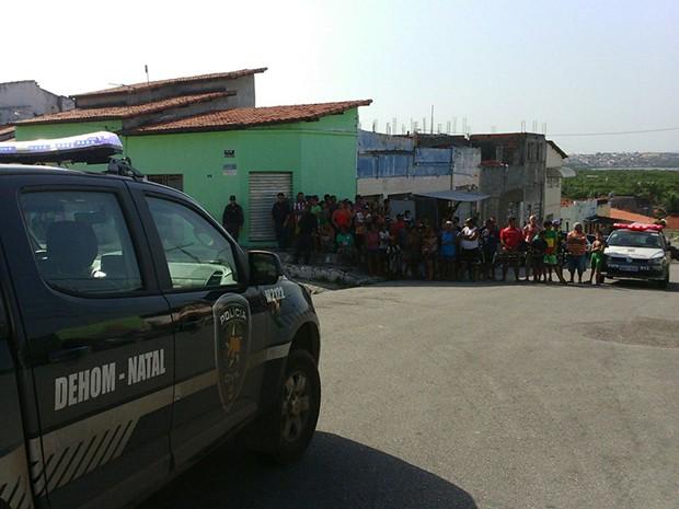 Crime aconteceu na Rua São Geraldo, no bairro das Quintas (Foto: Heloísa Guimarães/Inter TV Cabugi)